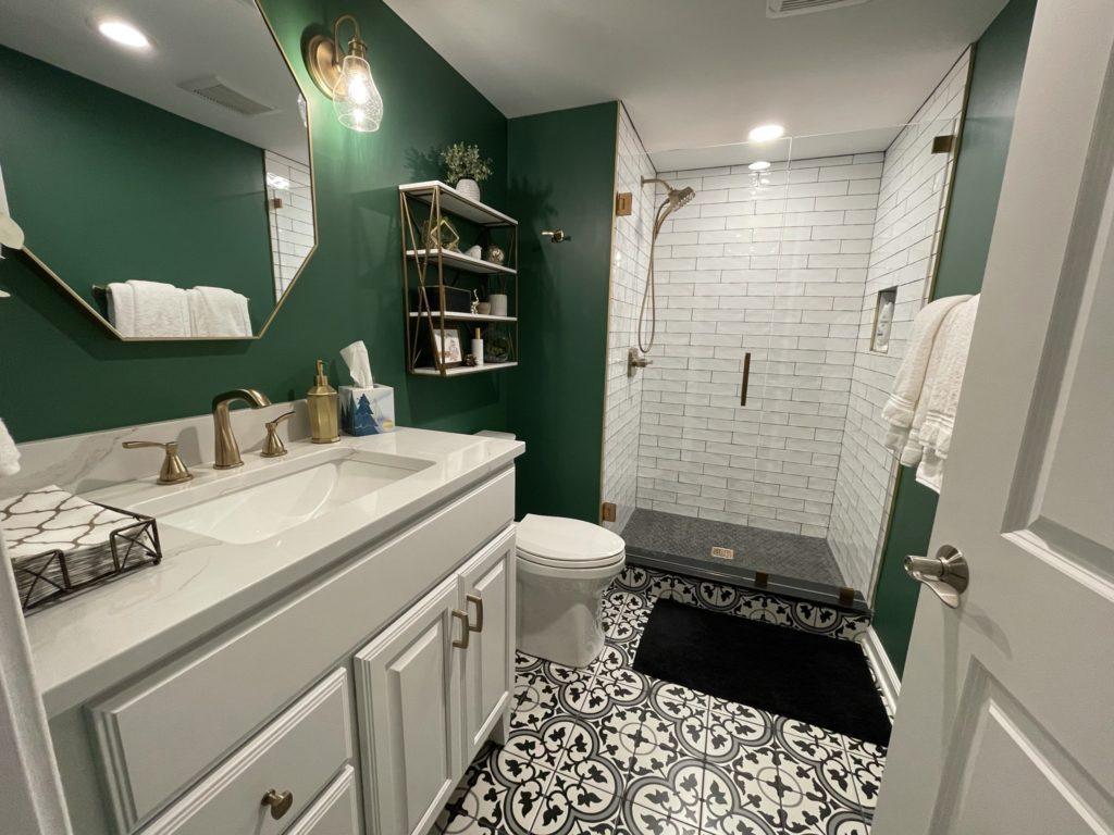 Northville, Michigan finished basement bathroom green walls