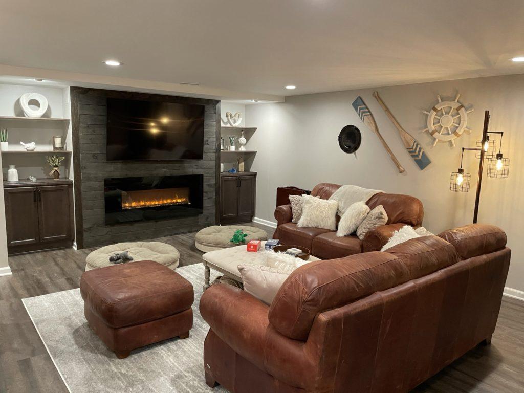 Northville, Michigan basement living room with modern design